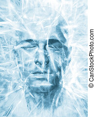 Iced man - Render of a man's head frozen in a block of ice