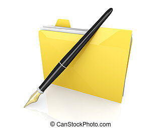 Document Folder - A written documents device 3D rendered...
