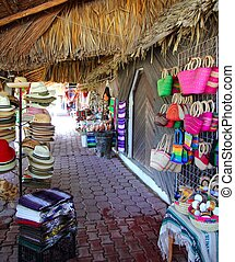 Handcrafts market in Mexico Puerto Morelos village