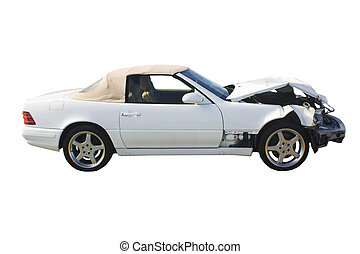 white convertible wreckage