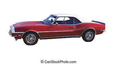 classic red muscle car - red muscle car with white vinyl top...