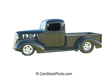 black hotrod pickup - retro styled black pickup with chrome...