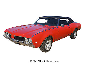 classic red muscle coupe - classic red muscle car with black...