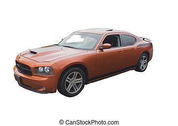 orange musclecar - modern sedan muscle car isolated on white