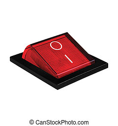 Red power switch in on position, isolated macro closeup -...