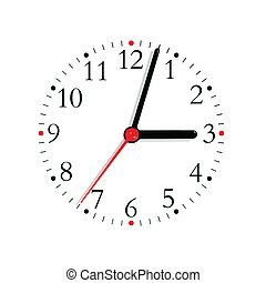 Analogue clock face dial in black red at 3:03 isolated -...