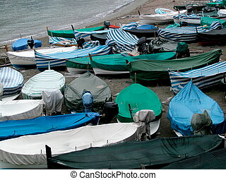 Boats laying on the beach