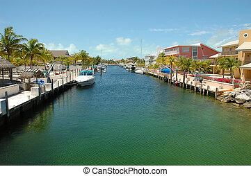 Key Largo Canals - Internal view on Key Largo canals with...