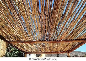 México,  Palapa, detalle, techo,  tropical, madera, cabaña