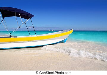 boat tropical beach Caribbean turquoise sea water