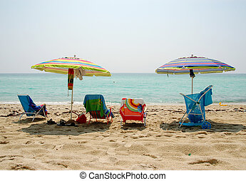 Colorful ocean beach setting