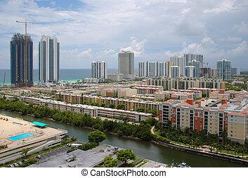 Sunny Isles Beach, Florida - Birds-eye view of Sunny Isles...