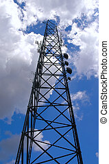 Cellular tower reaching the clouds - Black celular tower...