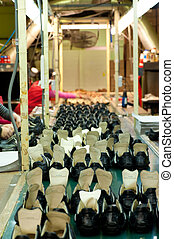 Production line at a modern footwear manufacture