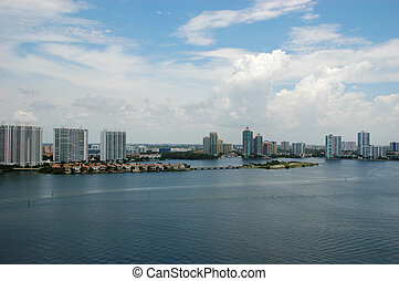 Bird-eye view of intercoastal waters, Sunny Isles Beach -...