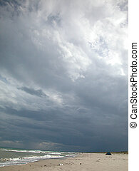Stormy weather on the beach