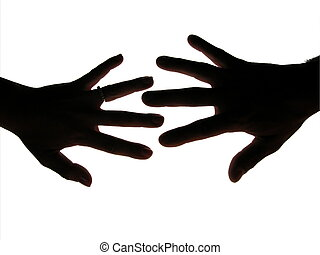 Man and woman hands silhouette - Man and woman hands black...