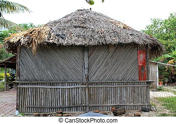 cabaña, Palapa, choza, de madera, tradicional,...