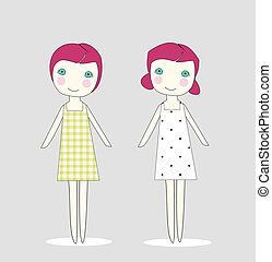 Two twin girls in dresses - This is a hand-drawn design of...