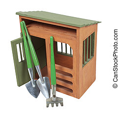 Garden Shed with Tools - Wooden garden shed with tools for...