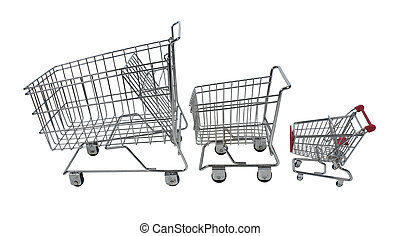 Family Shopping Carts - Family shopping carts made of metal...