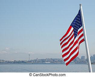 centro cidade, bandeira,  seattle, americano, fundo