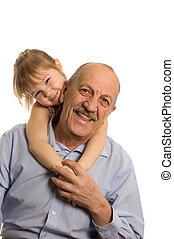 Grandfather with the granddaughter isolated on white...
