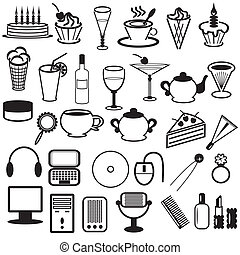 set with different objects