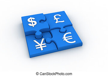 Currency Puzzle - Image generated in 3D application. High...