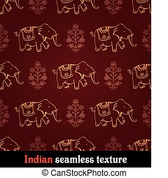 pattern indian elephant - seamless red and yellow indian...