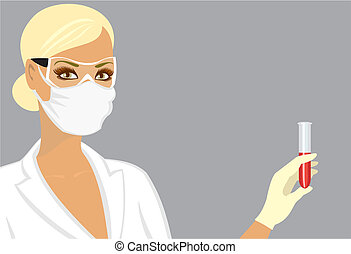 laboratory assistant in a mask with a test tube in hand