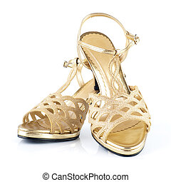 Woman shoes - Pair of high heels golden female shoes...
