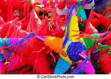 Pinatas, estrella, forma, mexicano, tradicional,...