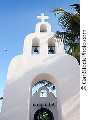 Playa del Carmen white Mexican church archs belfry Mayan...