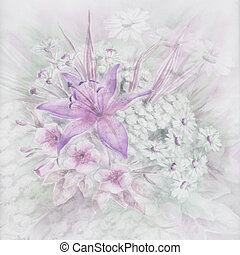 Flowers, watercolor - Flowers and leaves, picture, drawing a...