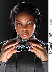 Female secret agent spy holding binoculars - I spy. A...