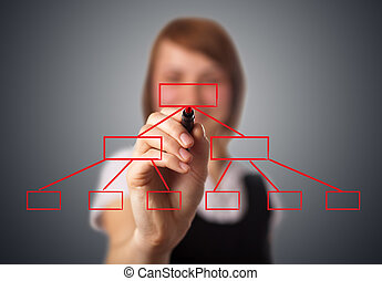 Businesswoman drawing diagram on a whiteboard 2 -...
