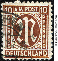 sign Virgo - GERMANY - CIRCA 1945: Definitive stamp series...