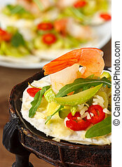 Shrimps with salad. - Tostadas with shrimps and marrow salad...
