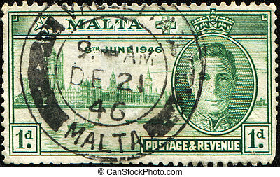 view of London - MALTA - CIRCA 1946: A stamp honoring The...