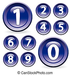 Set of glossy digits - Set of digits in glossy style Buttons...