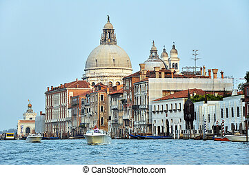 Motorboats and Venetian Architecture on the Grand Channel.