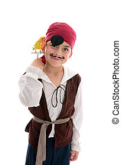 Smiling Pirate boy - A young boy in pirate costume and...