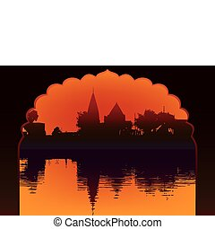 Indian lake sunset temple and reflection with old arch