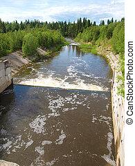 Summer landscape. Ural mountains river