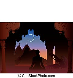 Indian moon night temple and yogi under old arch