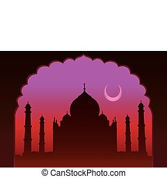 Indian moon night Taj Mahal temple and old arch