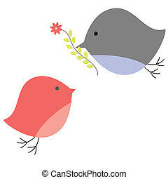 Background with birds in love Vector illustration