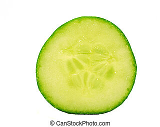 The cut cucumber on a white background