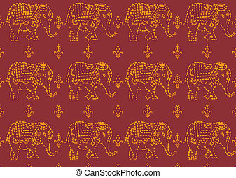 pattern indian elephant - seamless red and yellowe indian...